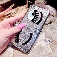 Fashional 3D Cute Style Sequins Following Flirting Eyes Phone Cases for iPhone 5 5S 6 6S 4.7'' Plus 5.5'' Phone funda covers