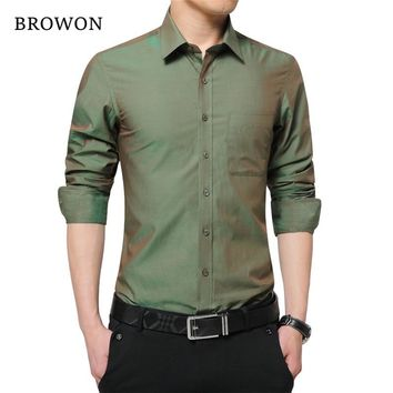 Mens Shirt Long Sleeve Cool Shirt Candy Color Turn Down Collar Slim Fit Shirt for Men