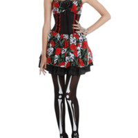 Day Of The Dead Rose Skull Costume Dress