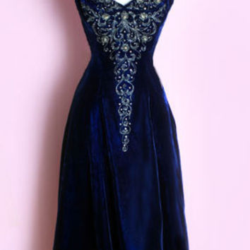 627d985d00a 1950 s Blue Velvet Beaded Dress Vintage evening dress gown blue velvet 50 s  ...