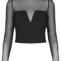 **Jersey and Mesh Crop Top by WYLDR - Clothing