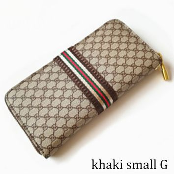 GUCCI classic double G letter printing men and women plaid zipper clutch F0848-1 khaki small G