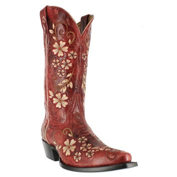 "Shyanne® Women's 12"" Embroidered Clover Flower Western Boots"