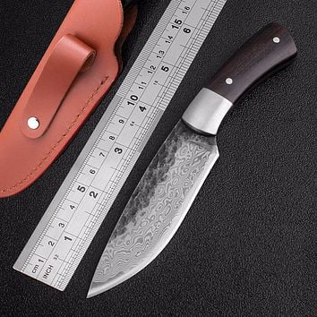 High-carbon steel damascus Pattern fixed blade hunting knife Sharp handmade forged blade Camping Tactical Survival rescue tool