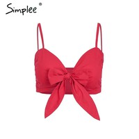 Simplee Sexy strap bow red crop top women V neck tie up short top tee female 2018 Summer beach casual camisole tank