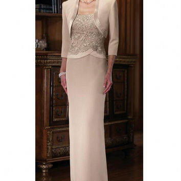 Luxury 2016 Mother of The Bride Dresses With Jacket Lace For Wedding Evening Party Gowns Women Formal Dress Plus Size