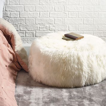 NEW Sumptuous Sheepskin Pouf - Ivory