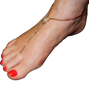 AUGUAU Set of 4 Unique Stretch Fashion Foot Jewelry Anklets-2 Gold Tone-2 Silver Tone Faux Pearls & Rhinestones