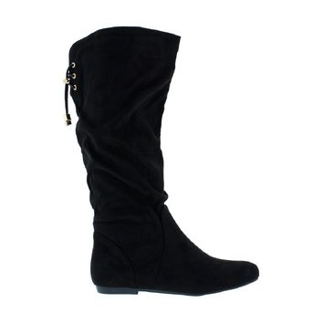 Slouchy Mid-Calf Flat Boot
