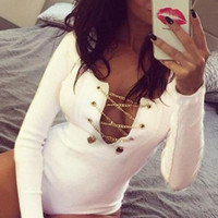 White Long Sleeve O-neck Keyhole Slim Bodysuit Catsuit