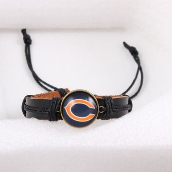 Charms Fashionable Glass Chicago Bears Signs Bracelet Punk Leather Bracelet Black Leather Strip and Cotton Rope Jewelry 6pcs/lot