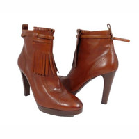 RALPH LAUREN COLLECTION Brown Leather Oxford Ankle Boots Booties Shoes 11B