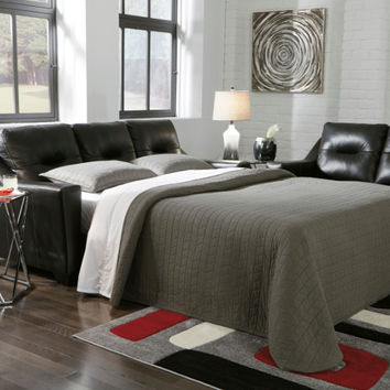 Kensbridge collection black colored leather match upholstered queen sleeper sofa with squared arms