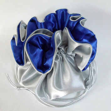 Dollar Dance Pouch  Silver and Royal Blue No Pockets