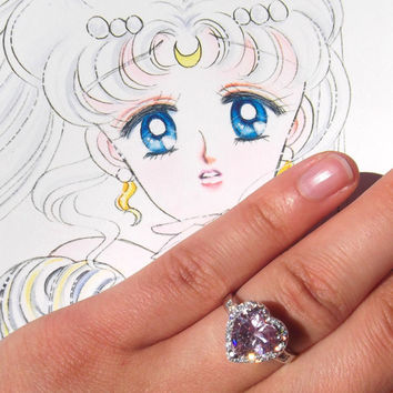 Sailor Moon Usagi Tsukino pink heart engagement ring size 6 7 8 9 / M O Q S