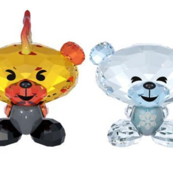 Swarovski Colored Crystal FigurineS Set of 2 Bo Bear FIRE & ICE #5004496 New