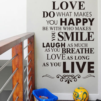 "Modern PVC Charaters ""Love Happy Smile Live"" Stickers Home Decor Decoration Art Removable size 90*30CM*2 SM6"
