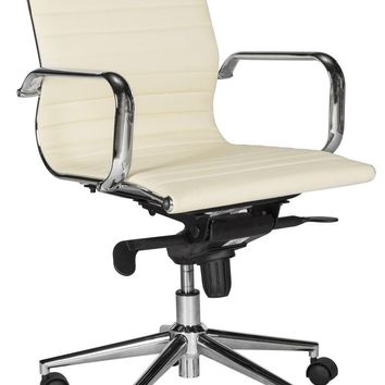 Loreley Desk Chair White Vegan Leather