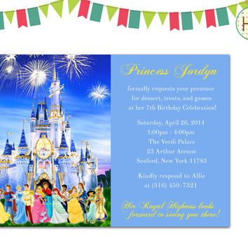 Disney Princess Invitation, Disney Castle Birthday Party, Princess Invitation, Princess Birthday Party