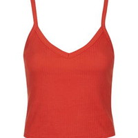 Wide Strap Ribbed Cami - Bright Red
