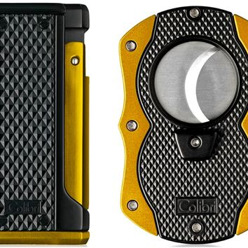 Colibri Monza Yellow Triple Flame Lighter and Cigar Cutter Gift Set