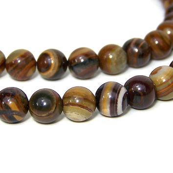 JUPITER JASPER beads 8mm round gemstone, full bead strand (567S)
