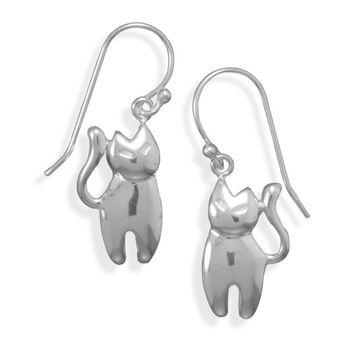 Sterling Silver French Wire Cat Earrings