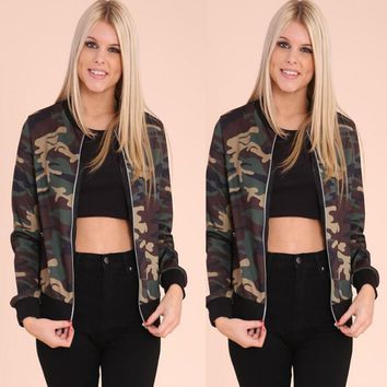 Womens Vintage Camouflage Jacket Coat +Gift Necklace