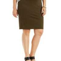 Plus Size Olive Ponte Knit Pencil Skirt by Charlotte Russe