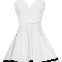 Fragile Beauty Dress | White Mesh Ribbon Hem Skater Dresses | RicketyRack.com