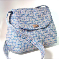 Blue Handbag Messenger- Cross Body Bag Purse - Fabric Bag
