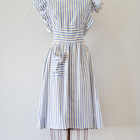 vintage 1940s blue striped seersucker pinafore dress [Manners Matter Dress] - $98.00 : Vintage & Vintage Inspired Clothing, Adored Vintage, Portland Oregon
