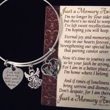 Mom Memorial Jewelry Expandable Charm Bracelet Adjustable Silver Bangle Parent Loss Bereavement Gift