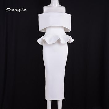 Seamyla 2017 Evening Party Dresses Women Sexy Summer White Dress Vestidos Mid Calf Ruffles Strapless Bodycon Dress New Fashion