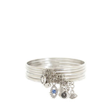 Chained To My Heart Evil Eye Bangles in Grey - BCBGeneration