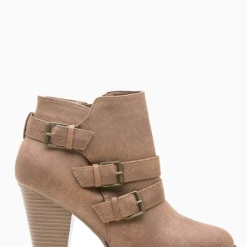 Tan Faux Leather Chunky Buckle Up Booties @ Cicihot Boots Catalog:women's winter boots,leather thigh high boots,black platform knee high boots,over the knee boots,Go Go boots,cowgirl boots,gladiator boots,womens dress boots,skirt boots.