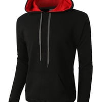 LE3NO PREMIUM Mens Heavyweight Fleece Pullover with Contrast Hoodie