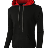 PREMIUM Mens Heavyweight Fleece Pullover with Contrast Hoodie