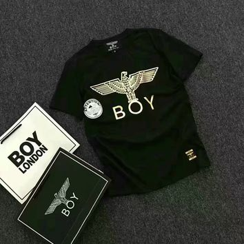 """Boy London"" Casual Fashion Bronzing Letter Eagle Pattern Print Unisex Short Sleeve Couple Shirt Top Tee"