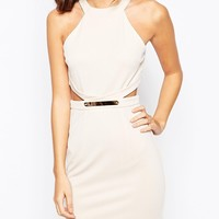 NaaNaa Midi Bodycon Dress With Cut Out and Gold Belt