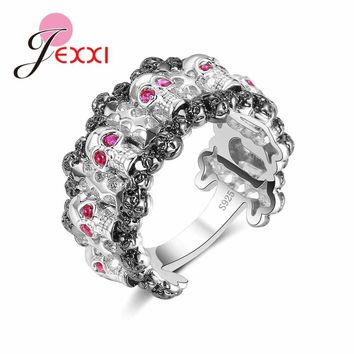 JEXXI New Punk Rock Women Personalized Rings Vintage Gothic Skeleton Jewelry Antique 925  Silver Domineering Skull Fashion Ring