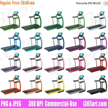 50% OFF Sale Treadmill Clipart, Exercise Clip Art, Fitness Equipment, Workout, Gym, Jogging, Planner Sticker Graphics, PNG, Commercial