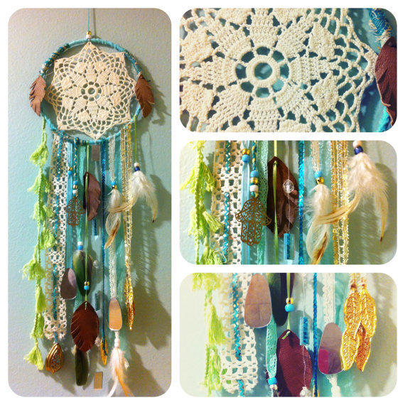 Sea Green Dream Dream Catcher with vintage doily by CosmicAmerican