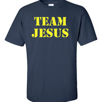 Team Jesus Mens Cool Tshirt Size S-3XL Birthday Gift or Any Occasion Yellow ink