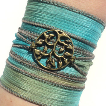 Bohemian Silk Wrap Bracelet Yoga Jewelry Tree of Life Earthy Unique Etsy Gift For Her Mothers Day Under 50 Item Y135
