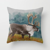 Caribou  Throw Pillow by North Star Artwork