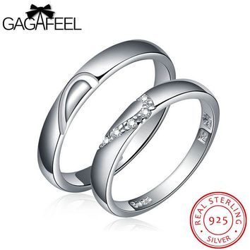 GAGAFEEL Wedding Jewelry real 925 sterling silver gem crystal zircon couple lovers rings China Gold Brand Fine  for men women