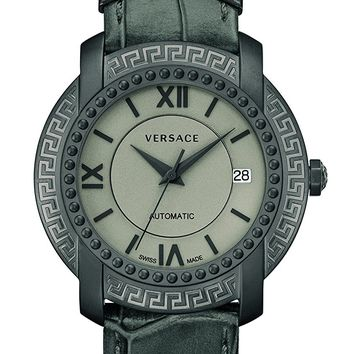 Versace Men's 'DV-25' Swiss Automatic Stainless Steel and Leather Casual Watch, Color:Grey (Model: V13010016)