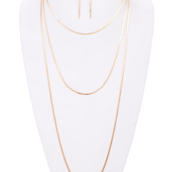 Hazel Three-Line Snake Chain Necklace and Earrings Set