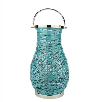 "18.5"" Modern Turquosie Blue Decorative Woven Iron Pillar Candle Lantern with Glass Hurricane"